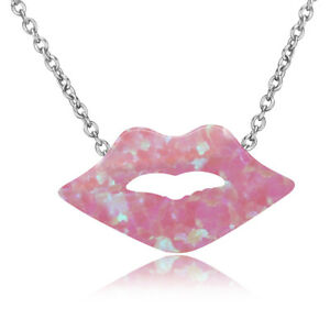 Charm 925 Silver Sexy Lip Kiss Design Pink&White&Blue Fire Opal Necklace Pendant