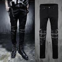 Stylish Mens Leisure Punk Slim Fit Gothic Zip Black Skinny Biker Pants Trousers#