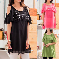 Chiffon Patternless Round Neck Mini Dresses for Women