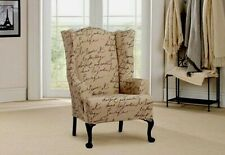 Stretch Penpal Wing chair slip cover by sure fit slipcover parchment