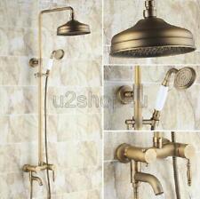 Antique Brass Wall Mount Bathroom Rain Shower Faucet Set W/ Tub Mixer Tap Urs154