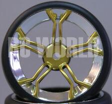 RC Car 1/10 DRIFT WHEELS TIRES Package 3MM Offset GOLD 5 Star w/ CHROME LIP