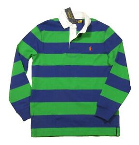 Polo Ralph Lauren Men's Navy/Green Stripe Classic Fit Rugby Polo Shirt