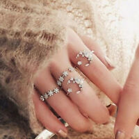 5Pcs/set Women Rhinestone Jewelry Boho Midi Knuckle Moon Star Finger Ring Set
