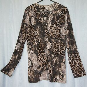 NONI B Women's Crossover Bodice Size M, Animal print Stretch Top Ladies  Size 14
