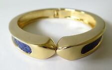 STELLA AND DOT BANGLE, CUFF,  BRACELET  GOLD-PLATE &  BLUE FAUX SNAKESKIN