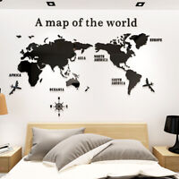 KE_ 3D Effect Removable Acrylic World Map Wall Decal Sticker Mural Home Office