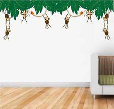 Hanging Monkeys Wall Stickers Vinyl Decals Kids Room Nursery School Wall Décor