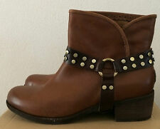 Womens Size 10 UGG Whiskey Brown Leather Western Cowboy Ankle Boots 1006683 WHI