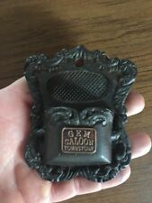 Match Holder Cast Iron Mantle Fireplace Saloon Tombstone Brass Plated Man Cave