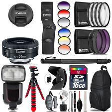 Canon EF-S 24mm f/2.8 STM Lens + Pro Flash + Filter Kit - 16GB Accessory Kit