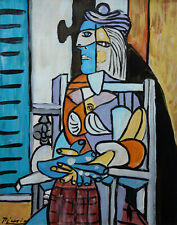 Unique Original, oil, Cubist Portrait painting, signed, Pablo Picasso, w COA
