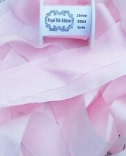 """100% Pure Silk Ribbon ~ Pale/Pink ~5 Yds 1"""" [25Mm] Wide"""