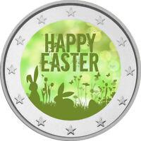2 Euro Gedenkmünze Ostern coloriert Farbe / Farbmünze /   Hasen / Eier / Wiese