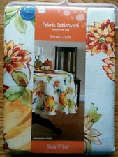 """Fabric Tablecloth 70"""" Round Polyester ~ Autumn Fall Pumpkins Flowers Berries"""