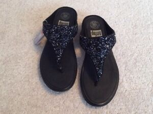 Ladies Fitflop Banda Roxy Crystal Toe-Thong Sandals - All Black -EU39 -UK6- BNIB