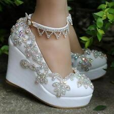 Womens Rhinestones Ankle Belt Platform Wedge Heel Wedding Shoes Bridal New Ths01