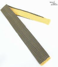 "NEW Burma Bibas Navy Blue & Yellow Zig-Zag 2 7/8"" Wide Tie"
