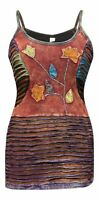 Women Embroidered Vintage Blouse Cami Elegant Faded Hippy Festival Vest Tank Top