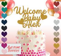 Personalised Custom  Welcome Baby Glitter Birthday Cake Topper Boy Girl Newborn