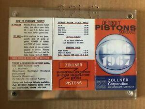 1966-67 Detroit Pistons Schedule by Zollner Corporation: Mint