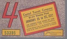 Trolly/Bus pass capital Transit Wash. DC--1934-----61