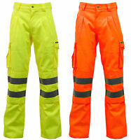 Hi Vis Viz Polycotton Safety Work Trousers Cargo Combat Pants EN471 - Stand Safe