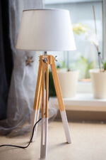 Dreibein Stehlampe Tripod Stehleuchte Lampe Leuchte Tischleuchte Holz Retro