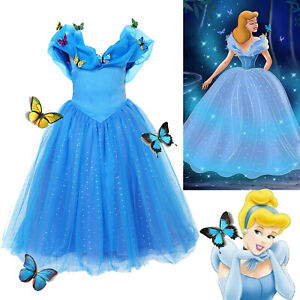 Cinderella Fancy Dress Up Kids Girls Princess Party Cosplay Costume Outfit Gift