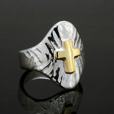 Modern Sterling Silver 14kt yellow gold textured cross ring size 9