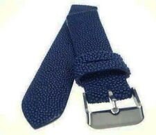 22mm Navy Blue Stingray Skin Leather Watch Strap Band Handmade  ST2202