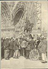 REIMS MISE EN PLACE STATUE DE JEANNE D' ARC DEVANT CATHEDRALE IMAGE 1896
