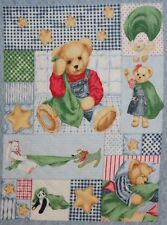 Blue Jean Blankie Bear Cotton Sewing Quilting Cot Panel Cotton Fabric Baby
