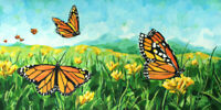 Monarch Landscape - Original Butterfly Painting - (10 X 20) by John Wallie