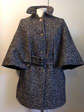 Burberry unique melange grey wool cape jacket coat, size 8