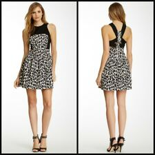 NWT French Connection Women's Leopard Print Racerback Fit and Flare Casual Dress