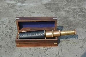 15 inch Brown Antique Telescope with Box Handmade Collectibles Brass Telescope