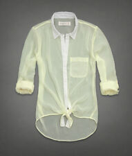 NWT Abercrombie & Fitch Micah Sheer Chiffon Collar Shirt Sz L Hi Lo Hem Easy Fit