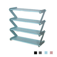 Metal Bookshelf Shoe Rack Multi-layer Storage Shelf Folding Frame Organizer DIY