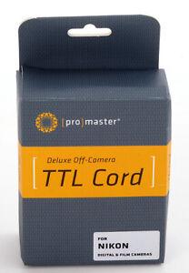 "Pro-Master Deluxe Off Camera TTL Coiled Cord Nikon 59""  - New IN BOX -"