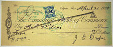 Vintage Bank Cheque - 1925 - The Canadian Bank of Commerce - with 2 cent stamp