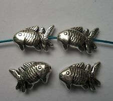 10pcs Tibetan silver fish charms spacer bead 27x13x6.5 mm