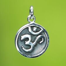 NEU 925 Silber ANHÄNGER 1,9cm mit OM ZEICHEN Aum / Aom KETTENANHÄNGER Buddha