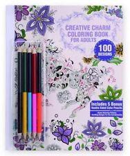 NEW - CREATIVE CHARM ADULT COLORING BOOK 100 Designs Bonus 5 Color Pencils