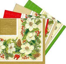 2 Serviettes en papier Fleurs de Noël Paper Napkins Christmas Flowers