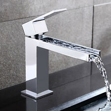 Modern Bathroom Waterfall Long Spout Sink Faucet Basin Filler in Chrome Finish
