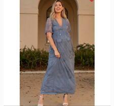 Pink Blush Maternity Dress Blue Lace Mesh Overlay Plus, Maxi, Brand New