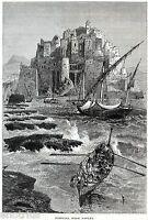 Pozzuoli: Veduta Pittoresca. Campi Flegrei. Stampa Antica + Passepartout. 1878