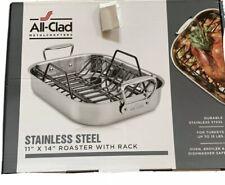 "ALL-CLAD E752S264 Stainless Steel ROASTER Pan w/Non-Stick Rack 11""x 14"" NIB"