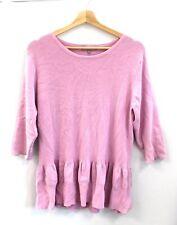 Ladies OLIVER BONAS Pink Viscose Blend Knit Peplum Top UK Size 16 - Z07